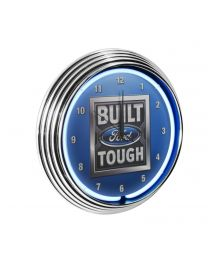 Built Ford Tough Garage Man Cave Wall Clock Chrome Trim w/ Blue Neon Light