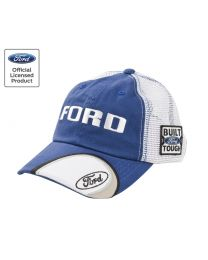 Ford Truck F150 F250 F350 Built Ford Tough Blue & White Mesh Baseball Hat Cap