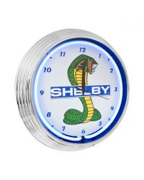 Ford Shelby GT350 GT500 Cobra Mustang Blue Light Up Neon Clock w/ Chrome Trim
