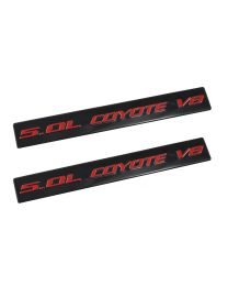2011-2017 Ford Mustang GT Ford F150 5.0 Coyote V8 Emblems Black & Red - Pair