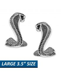 "Mustang Larger 3 1/2"" Cobra Snake Fender Emblems Pair"