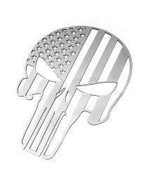 "Punisher Skull American Flag Fender Tailgate Emblem Polished Stainless 6"" x 4.5"""