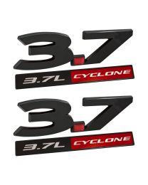 2011-2017 Ford Mustang 3.7 Cyclone 4pc Black & Red Fender Emblem Set
