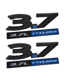 2011-2017 Ford Mustang 3.7 Cyclone 4pc Black & Blue Fender Emblem Set