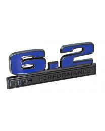 "Ford Mustang Blue 6.2 High Performance Fender Emblem w/ Black Trim 5"" x 1.75"""