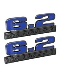 "Ford Mustang Blue 6.2 High Performance 5"" Fender Emblems w/ Black Trim - Pair"