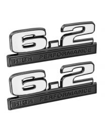 "Ford Mustang White 6.2 High Performance 5"" Fender Emblems w/ Black Trim - Pair"