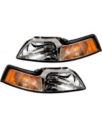1999-2004 Ford Mustang GT V6 Cobra Chrome Headlight Assembly w/ Bulbs & Brackets