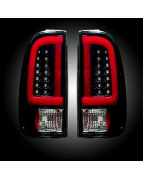 1999-2007 Ford F250 350 450 Super Duty RECON Smoked LED Rear Tail Lights Pair