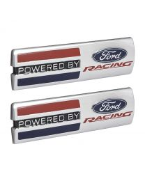 """Mustang Powered By Ford Racing 5.5"""" x 1.5"""" Emblems Fender Badges Chrome - Pair"""