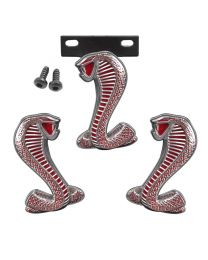 """1994-2004 Mustang Cobra 3 piece Grill Grille RED & Chrome 2 3/4"""" Fender Emblems"""