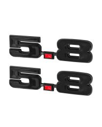 "1965-1995 Ford Mustang 351W Gloss Black 5.8 Liter Emblems 4.75"" x 1.25"" - Pair"
