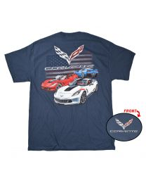 2017 Corvette C7 Grand Sport American Flag Blue T Shirt 100% Cotton - Large