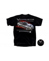 C7 Corvette Black T-Shirt Tee Shirt - Gray Stingray & Crossed Flags Logos 2X