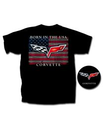 2005-2013 C6 Corvette 'Born in the USA' Black American Flag T-Shirt - 2X