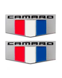 "2016 2017 Camaro OEM 2.5"" Exterior Fender Emblems in Red White & Blue - Pair"