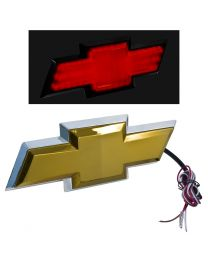 2007-2013 Chevy Silverado Rear Tailgate Light Up Gold Bowtie Emblem w/ Red LED