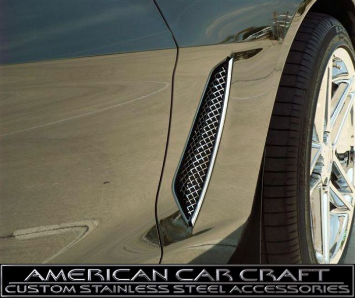 2005-2013 C6 Corvette Polished Stainless Mesh Front Side Brake Vent Grilles
