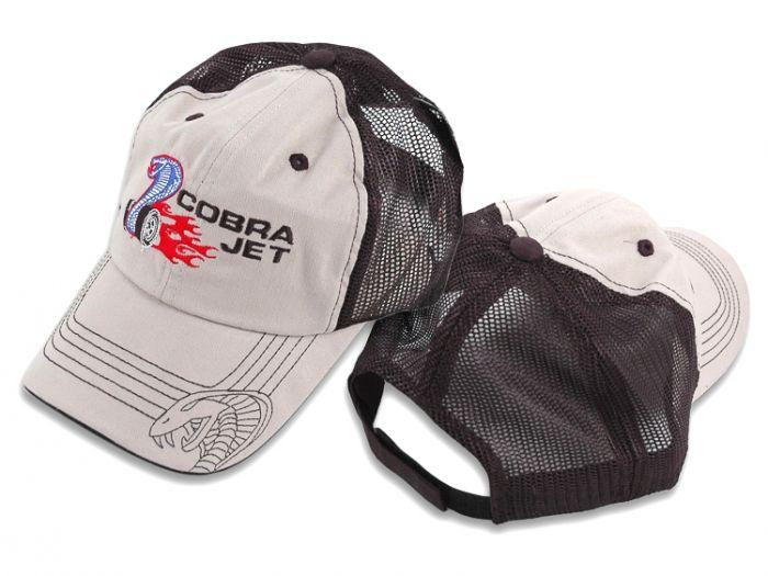 Mustang Cobra Jet Embroidered Tan /& Black Mesh Adjustable Baseball Hat Cap